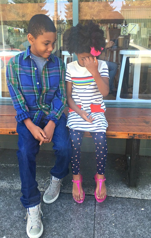 Kids exploring the city in their fall back to school outfits by Mini Boden