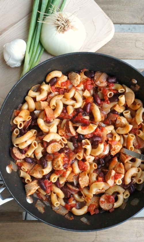 One pot chicken and sausage chili pasta. Love this twist on classic chili, comfort food at its best