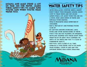 Disney's Moana coloring pages and activity sheets, water safety tips