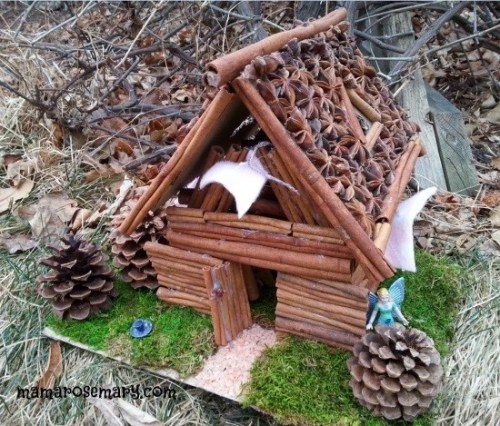 Diy cinnamon stick fairy house