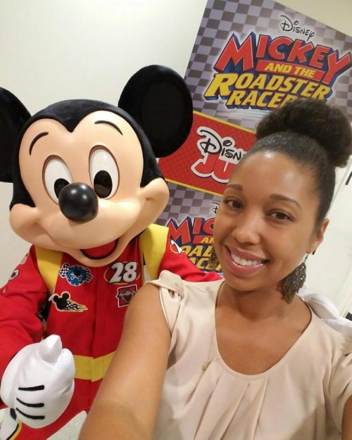 Deanna Underwood with Mickey Mouse for Disney's Mickey and the Roadster Racers show screening, Walt Disney Family Museum, San Francisco, CA, December 5, 2016