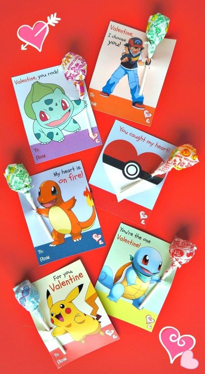 These free printable Pokemon Valentine's day cards are so cute! It looks like the characters are holding the lollipops!