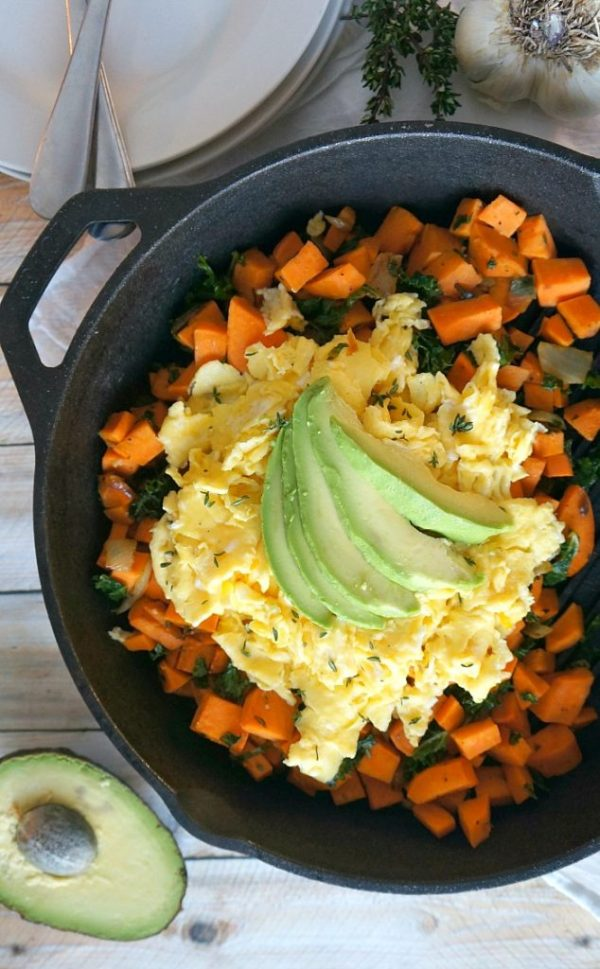 Thyme sweet potato and scrambled eggs hash breakfast recipe