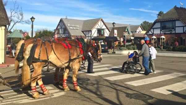 Horse drawn trolley in Solvang, CA
