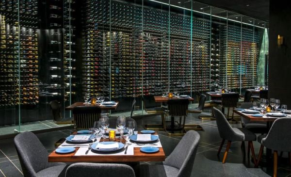 Wine wall at Lucca restaurant, Grand Velas Cabo