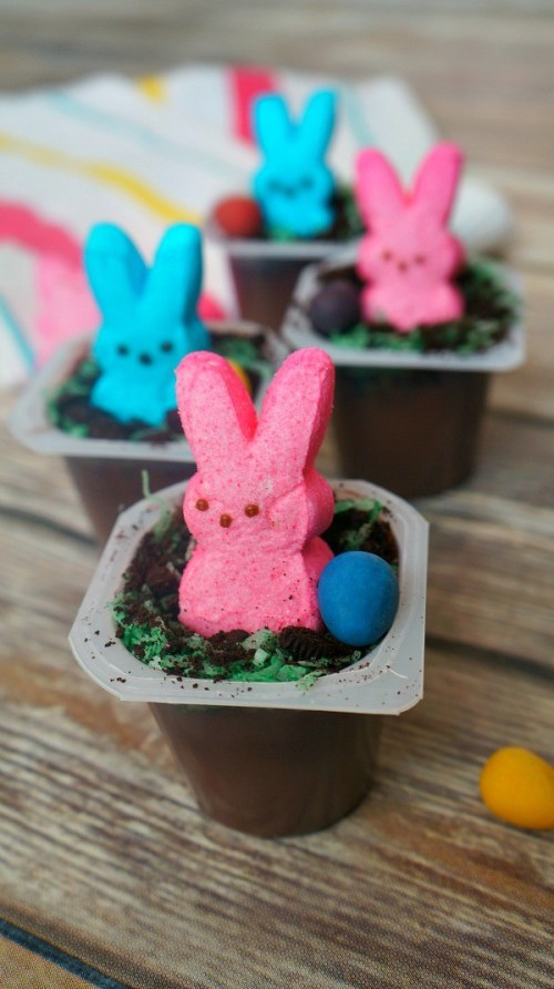 Easter treats for kids, Chocolate Pudding Easter Bunny Dirt Cups