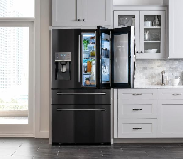 Kitchen remodel, Samsung stainless steel french door refrigerator at Best Buy