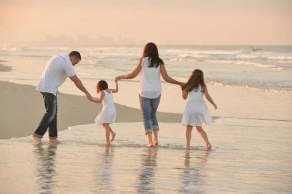 Family on the beach in Daytona Beach, Florida