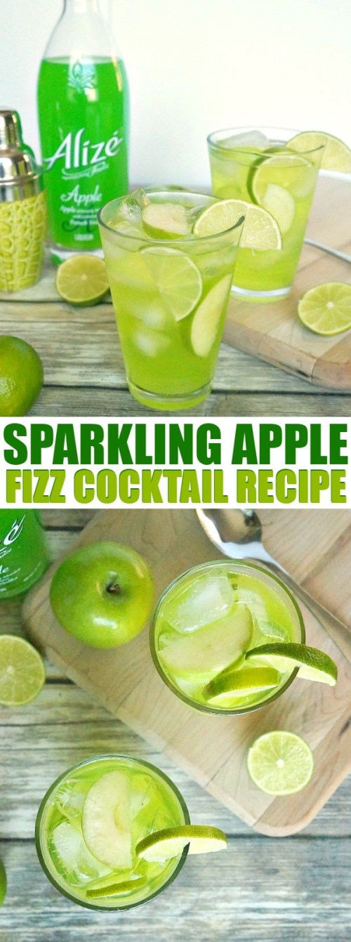 Sweet Sparkling Apple Fizz Cocktail Recipe - this apple cocktail recipe is made with Alizé Apple French Vodka, so delicious and refreshing