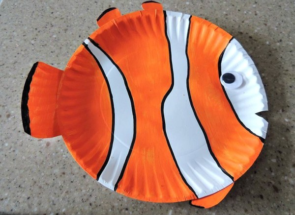 Tropical Clown Fish Paper Plate Fish Craft for Kids