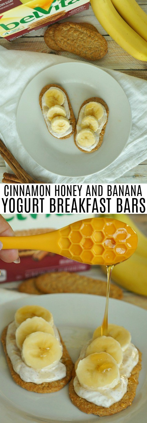 Healthy Banana Breakfast Bars with Cinnamon and Honey Greek Yogurt