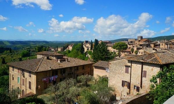 Tuscany Italy view from San Gimignano medieval village