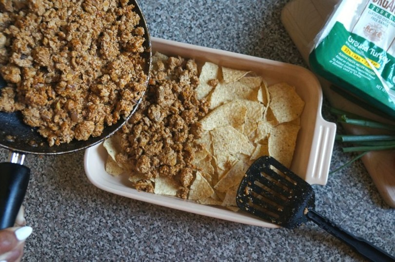 Taco turkey Mexican casserole with tortilla chips
