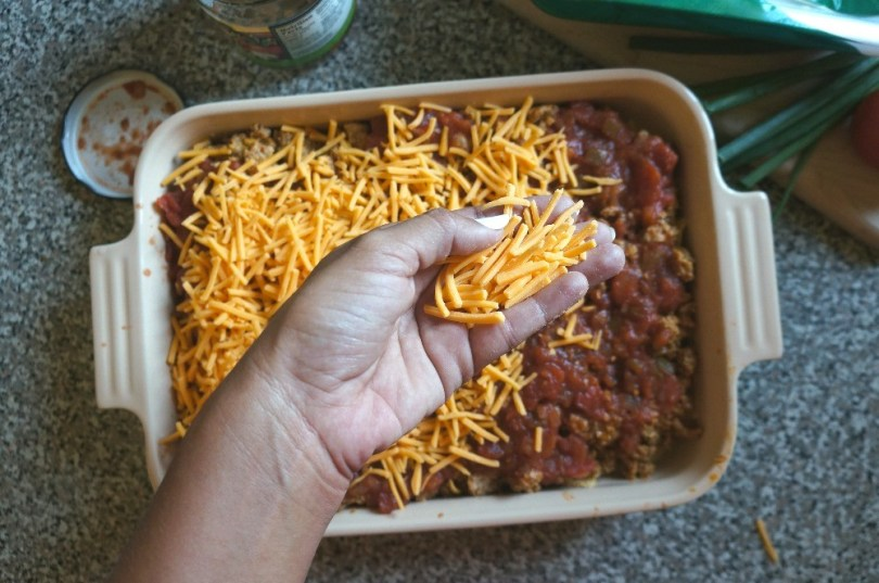 Ground turkey casserole recipe - cheese on a turkey taco bake dinner recipe