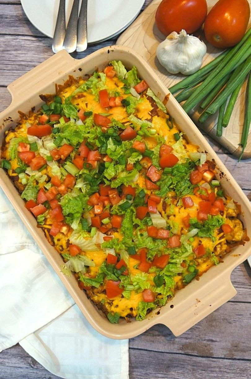 Turkey taco casserole - an easy layered taco bake recipe