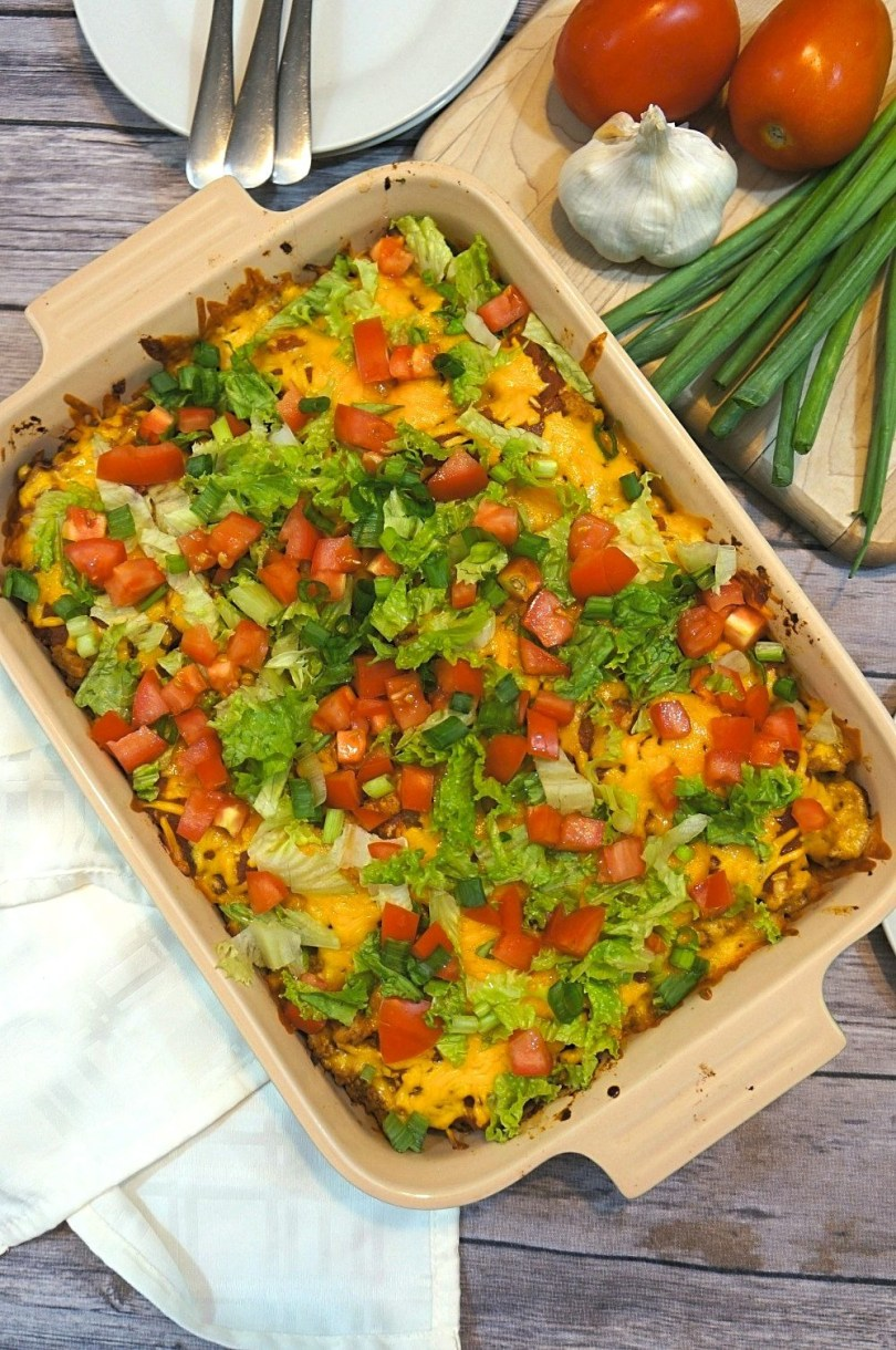 Turkey taco casserole - an easy layered taco bake recipe