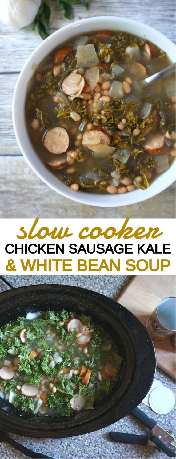 Slow Cooker Chicken Sausage Kale and White Bean Soup Recipe