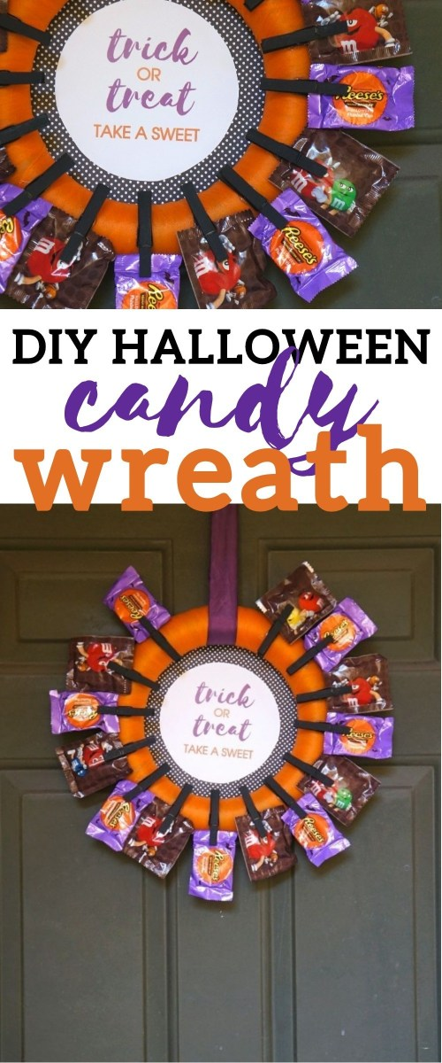Halloween wreath tutorial - This DIY Halloween Candy Wreath craft Is Perfect For Trick or Treaters
