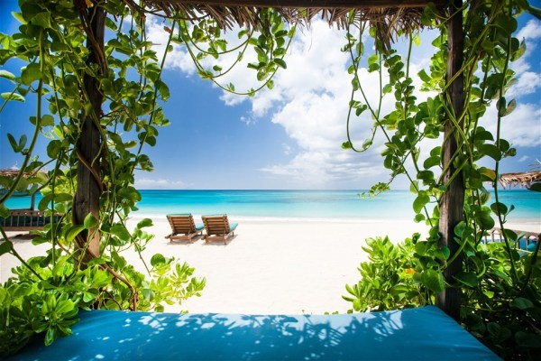 Photos of Antigua beaches, Keyonna Beach Resort sun lounge chairs
