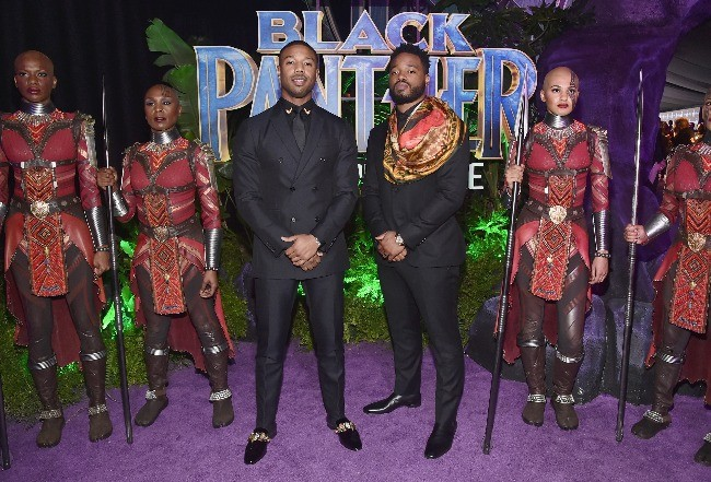 Actor Michael B Jordan and Director Ryan Coogler at Marvel BLACK PANTHER premiere in Los Angeles, CA