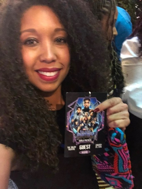 Deanna Underwood on the purple carpet at Marvel BLACK PANTHER premiere in Hollywood