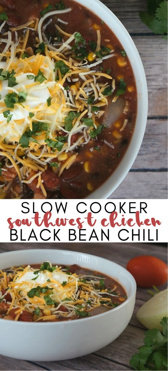 Easy Southwest Chicken and Black Bean Chili Recipe In The Slow Cooker