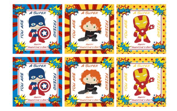 Printable superhero Valentines - Fancy Shanty