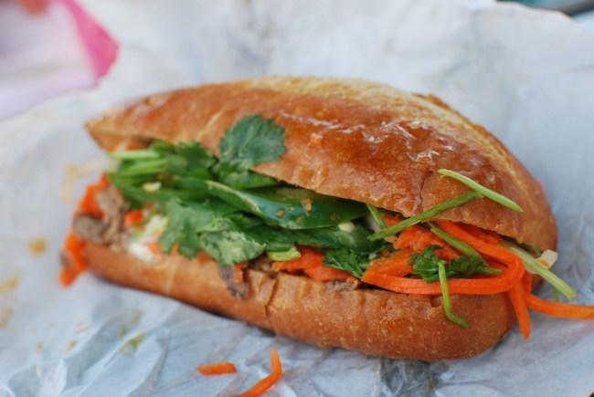 Vietnamese street food, Bahn Mi Shredded Pork Sandwich