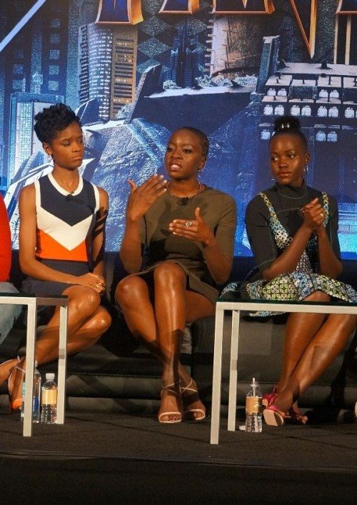Black Panther cast Letitia Wright Danai Gurira Lupita Nyongo
