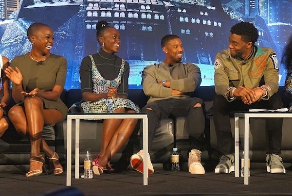 Black Panther cast at the press conference Danai Gurira Lupita Nyongo Michael B Jordan Chadwick Boseman