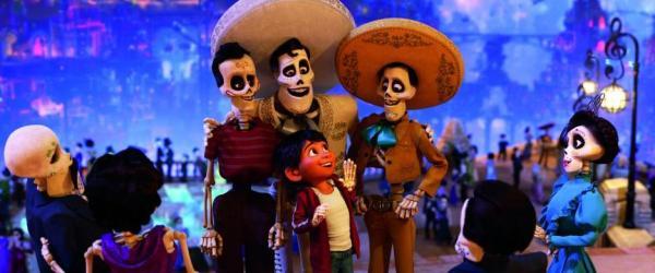 Disney Pixar Coco movie still, Miguel with ancestors in Land of the Dead
