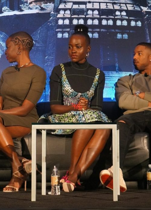 Lupita Nyong'o at the Black Panther press conference in Los Angeles, CA, January 2018 - photo: Deanna Underwood