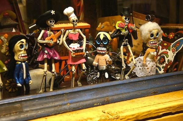 Skeleton statues for Dia de los Muertos on Olvera Street