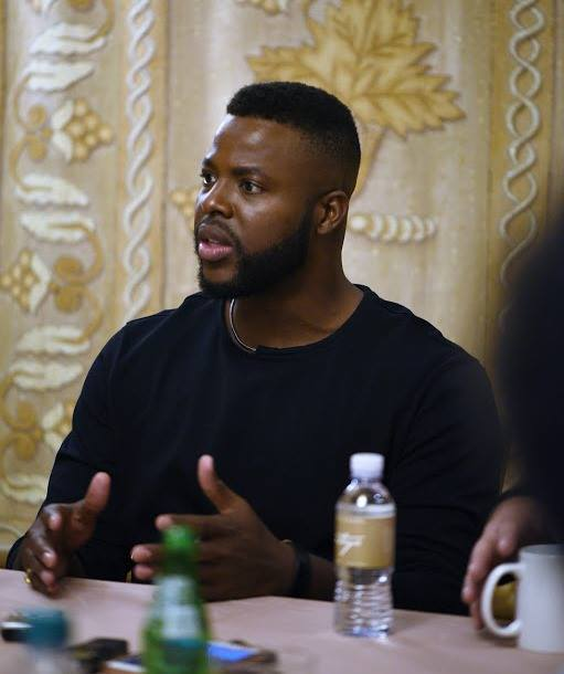 Winston Duke is M'Baku in Black Panther, pictures at the press conference interviews