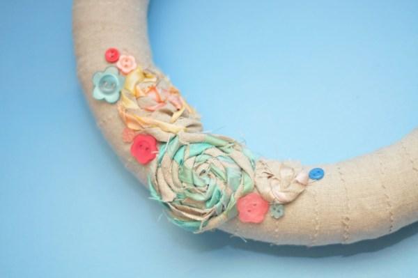 Spring wreath ideas - linen and silk shabby chic wreath