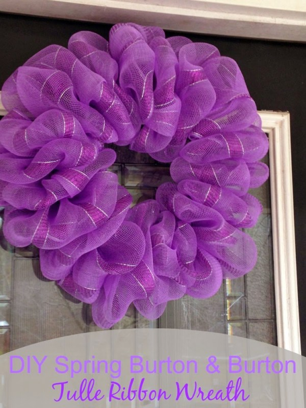 Tulle ribbon spring wreath