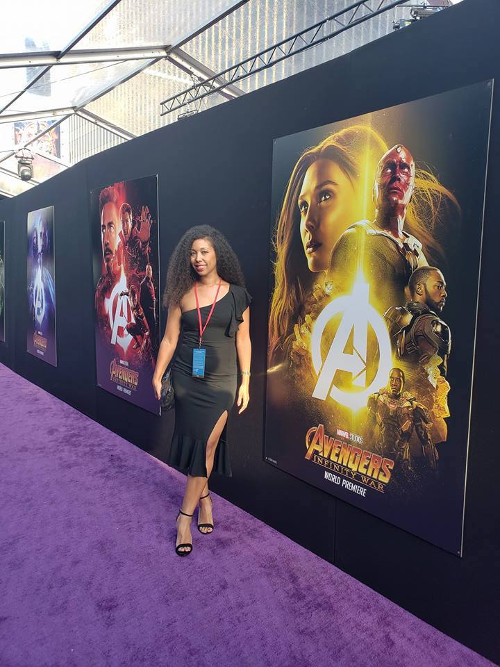 Deanna Underwood on the purple carpet at the Avengers Infinity War movie premiere