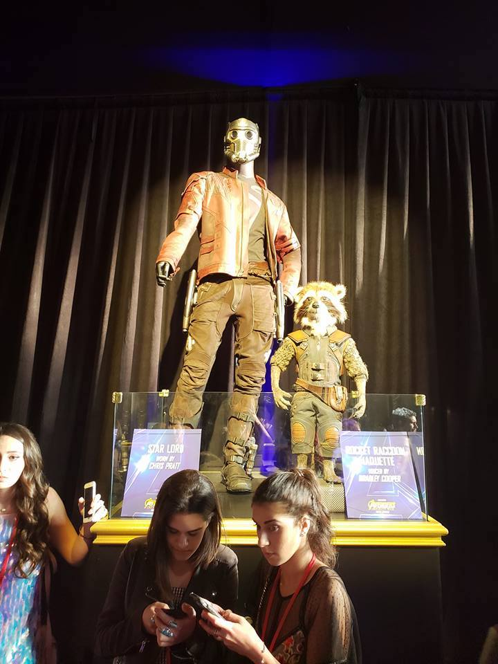Star Lord and Rocket display at the Avengers Infinity War movie premiere