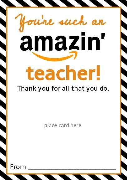 You're such an amazing teacher free printable Amazon gift card holder, honeyandlime.co
