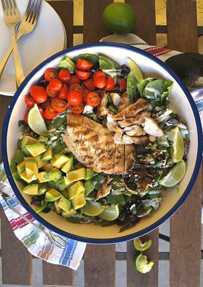 Homemade grilled chicken avocado salad