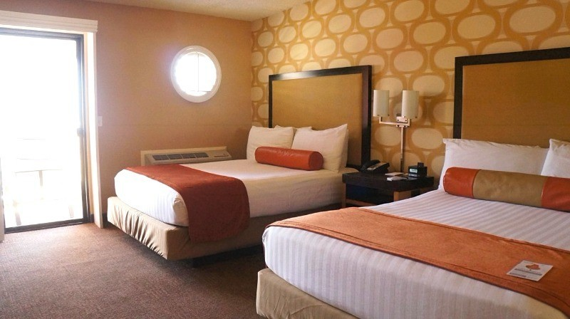Coastal view room with two queen beds at the Seacrest Oceanfront Hotel in CA