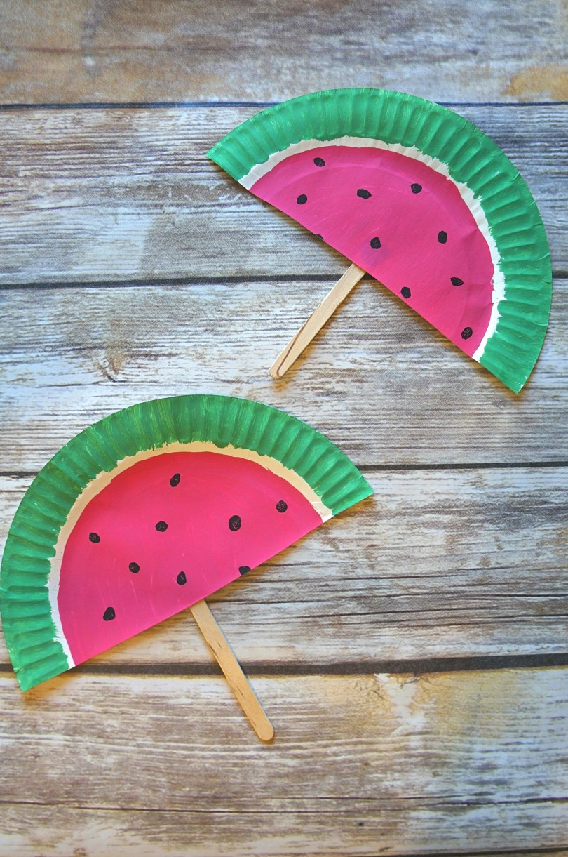 Paper plate watermelon hand fans craft