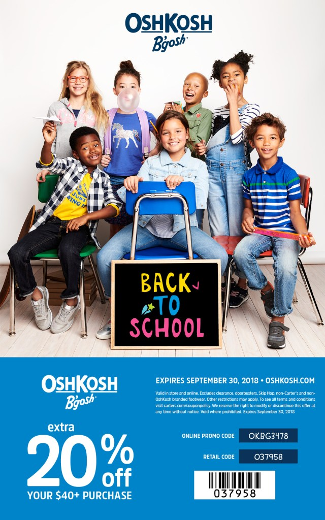 OshKosh coupon code 2018 - Save 20% off of back to school cute kids clothes with this Oshkosh in store coupon