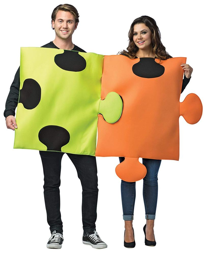 Connected like a puzzle pieces costume for couples