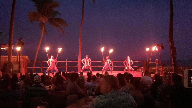 Fire torches at the Kona Resort luau
