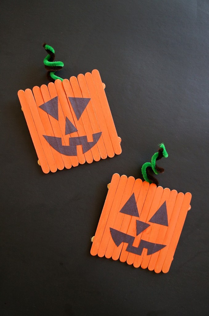 Popsicle stick pumpkins - easy pumpkin crafts