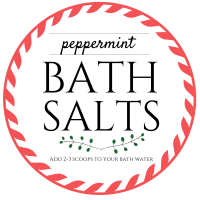 DIY peppermint bath salts recipe printable label - honeyandlime.co