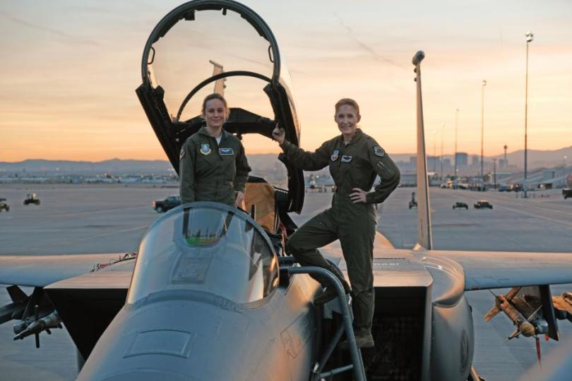 Pilot Brie Larson and co-pilot on the set of Captain Marvel