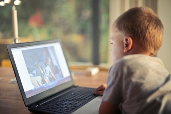 Kid using internet laptop computer