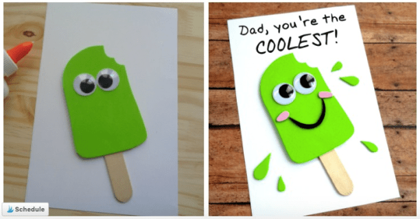 Popsicle homeade Father's day card - Homeschool Preschool